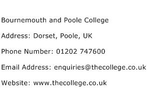 Bournemouth and Poole College Address Contact Number