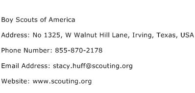 Boy Scouts of America Address Contact Number