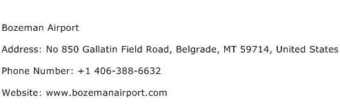 Bozeman Airport Address Contact Number