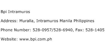 Bpi Intramuros Address Contact Number