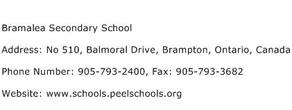 Bramalea Secondary School Address Contact Number
