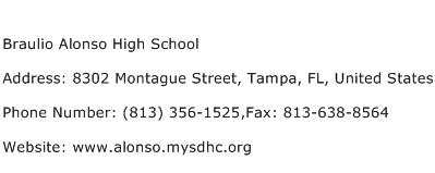 Braulio Alonso High School Address Contact Number