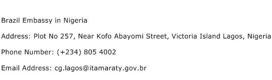 Brazil Embassy in Nigeria Address Contact Number