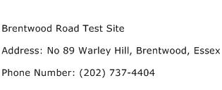 Brentwood Road Test Site Address Contact Number