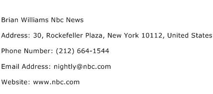 Brian Williams Nbc News Address Contact Number