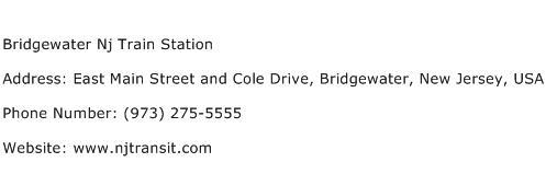 Bridgewater Nj Train Station Address Contact Number