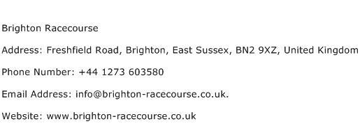 Brighton Racecourse Address Contact Number