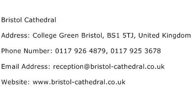 Bristol Cathedral Address Contact Number