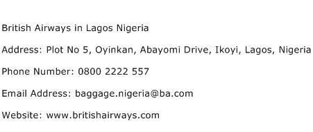 British Airways in Lagos Nigeria Address Contact Number