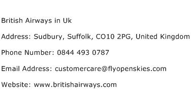 British Airways in Uk Address Contact Number