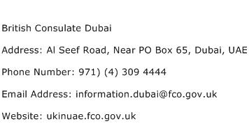 British Consulate Dubai Address Contact Number