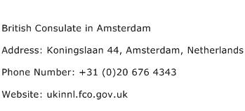 British Consulate in Amsterdam Address Contact Number