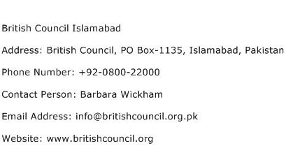 British Council Islamabad Address Contact Number