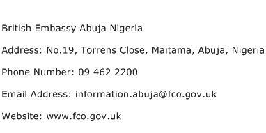 British Embassy Abuja Nigeria Address Contact Number