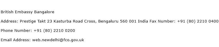 British Embassy Bangalore Address Contact Number