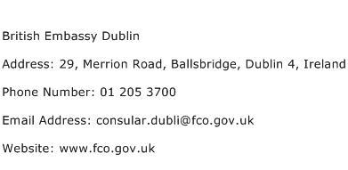 British Embassy Dublin Address Contact Number