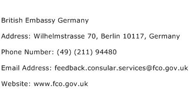 British Embassy Germany Address Contact Number