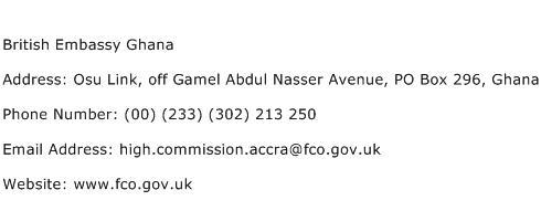 British Embassy Ghana Address Contact Number