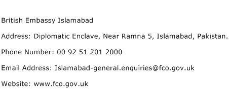 British Embassy Islamabad Address Contact Number