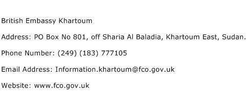British Embassy Khartoum Address Contact Number