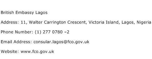 British Embassy Lagos Address Contact Number