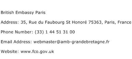 British Embassy Paris Address Contact Number