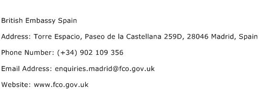 British Embassy Spain Address Contact Number