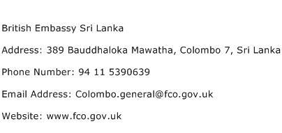 British Embassy Sri Lanka Address Contact Number