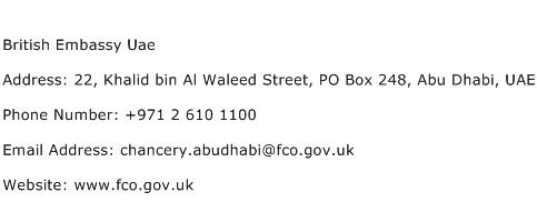 British Embassy Uae Address Contact Number