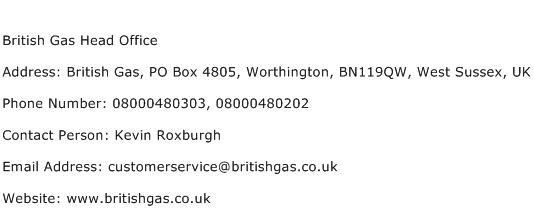 British Gas Head Office Address Contact Number