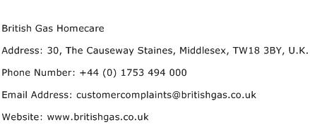 British Gas Homecare Address Contact Number