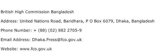 British High Commission Bangladesh Address Contact Number