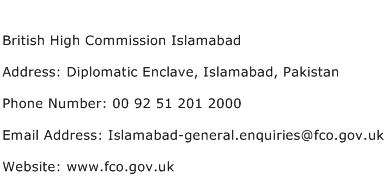 British High Commission Islamabad Address Contact Number