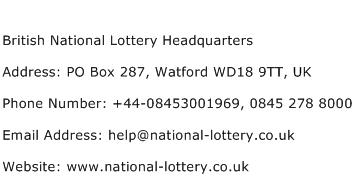 British National Lottery Headquarters Address Contact Number
