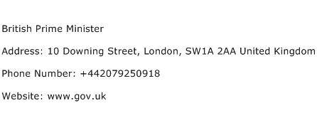 British Prime Minister Address Contact Number