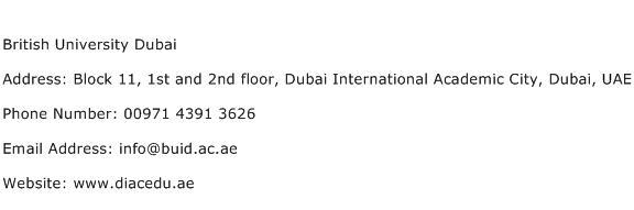 British University Dubai Address Contact Number