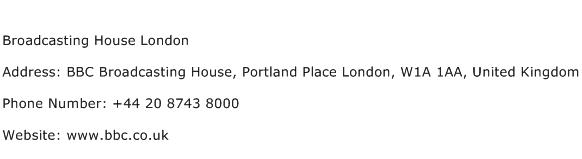 Broadcasting House London Address Contact Number