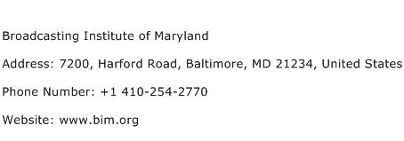 Broadcasting Institute of Maryland Address Contact Number