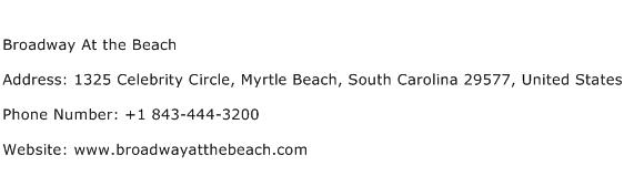 Broadway At the Beach Address Contact Number
