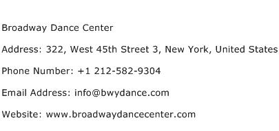Broadway Dance Center Address Contact Number
