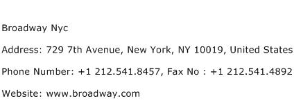 Broadway Nyc Address Contact Number