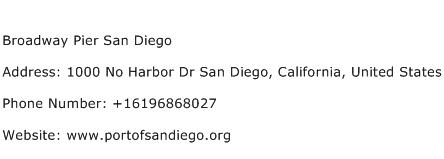 Broadway Pier San Diego Address Contact Number