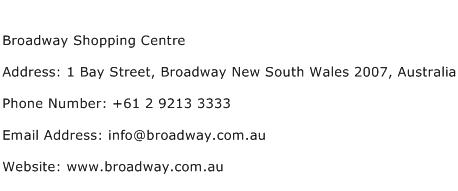 Broadway Shopping Centre Address Contact Number