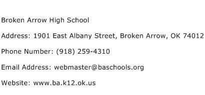 Broken Arrow High School Address Contact Number