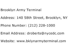 Brooklyn Army Terminal Address Contact Number