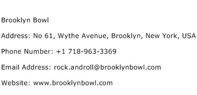 Brooklyn Bowl Address Contact Number