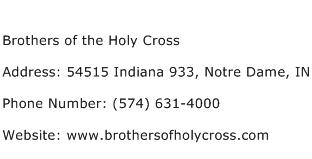 Brothers of the Holy Cross Address Contact Number