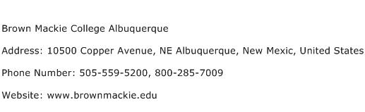 Brown Mackie College Albuquerque Address Contact Number