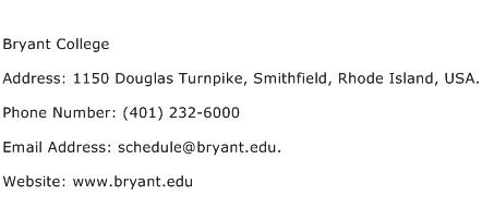 Bryant College Address Contact Number