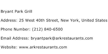 Bryant Park Grill Address Contact Number